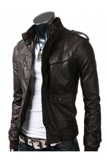 Slim Fitted Black Leather Jacket
