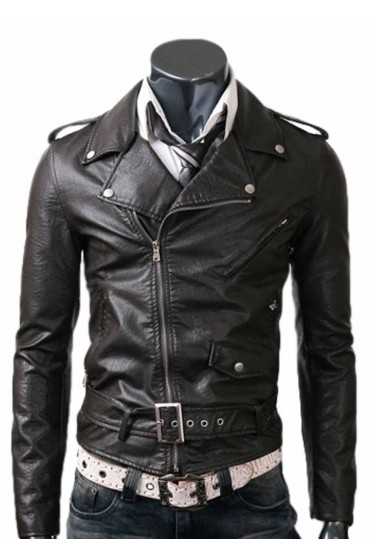 Slim Fitted Rider Black Leather Jacket