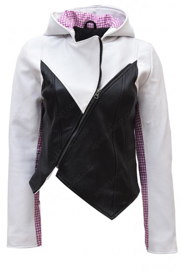 Spider Gwen Leather Jacket with Hoodie