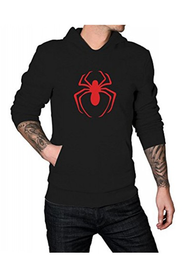 Red Spiderman Logo Black Hoodie for Men