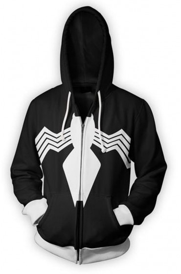 Spiderman Venom Black Cotton Hoodie