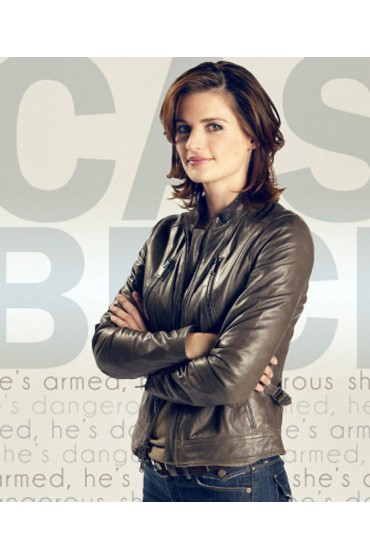 Stana Katic Castle American TV Series Kate Beckett Leather Jacket