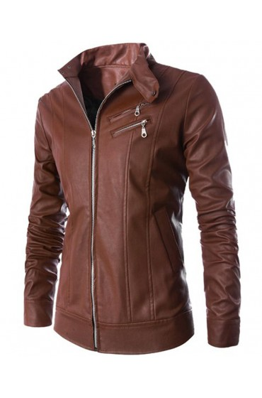 Men's Casual Wear Stand Up Collar Slim Fit Brown Leather Jacket