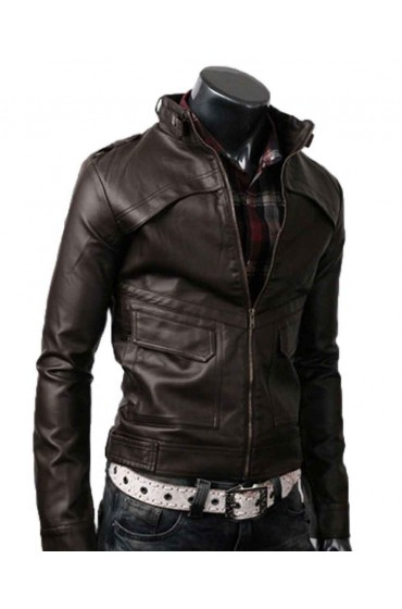 Strap Dark Brown Slim Leather Jacket