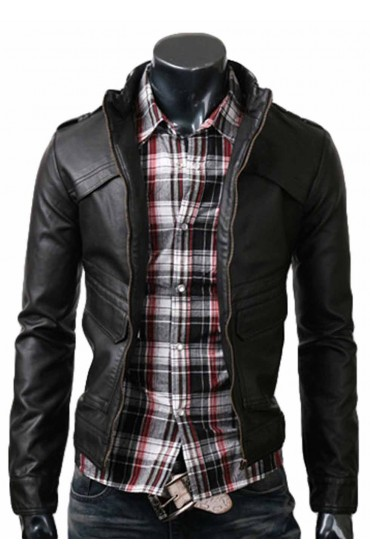 Strap Mens Slim Black Leather Jacket