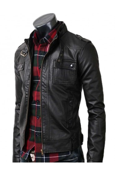 Strap Pocket Biker Slim Black Leather Jacket