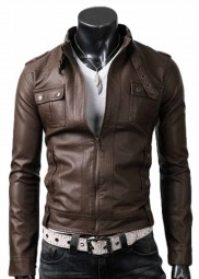 Strap Pocket Mens Light Brown Leather Jacket