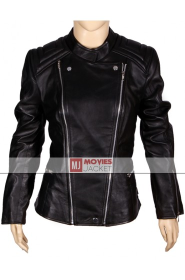 Street Style Abbey Clancy Black Leather Jacket