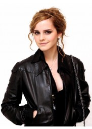 Street Style Emma Watson Black Leather Jacket