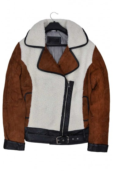 Shearling And Suede Women Half Zipper Leather Jacket