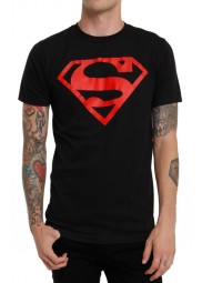 Red Logo Superboy Black T-Shirt