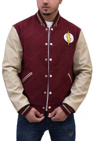 Maroon and Off White The Flash Letterman Jacket