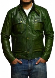 Wesley Gibson The Wanted Olive Green Leather Jacket