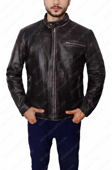 Tom Cruise Black Distressed Leather Motorcycle Jacket