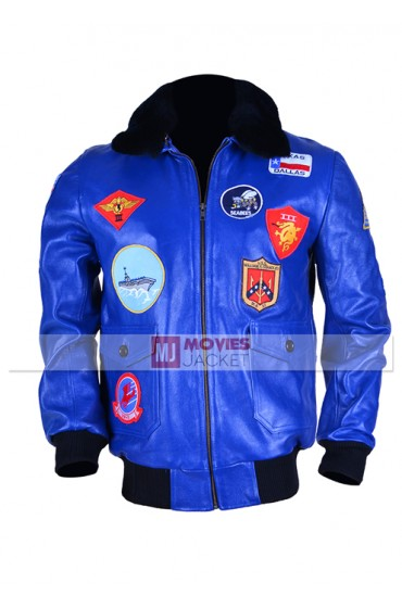 Top Gun Tom Cruise Blue Leather Mens Bomber Jacket