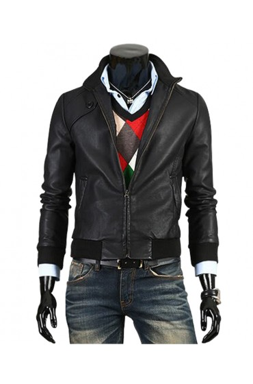 Men's Slim Fit Trendy Black Leather Jacket