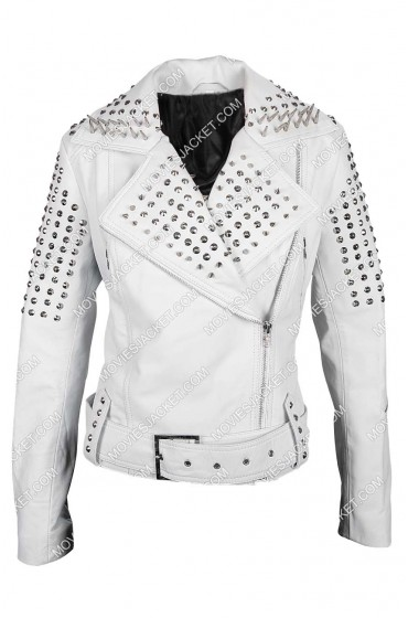 Pam True Blood White Leather Spiked Studded Biker Jacket