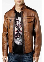 Two Tone Faux Leather Slimfit Jacket