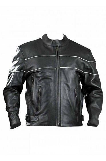 Vented Naked Motorcycle Cruiser Leather Jacket