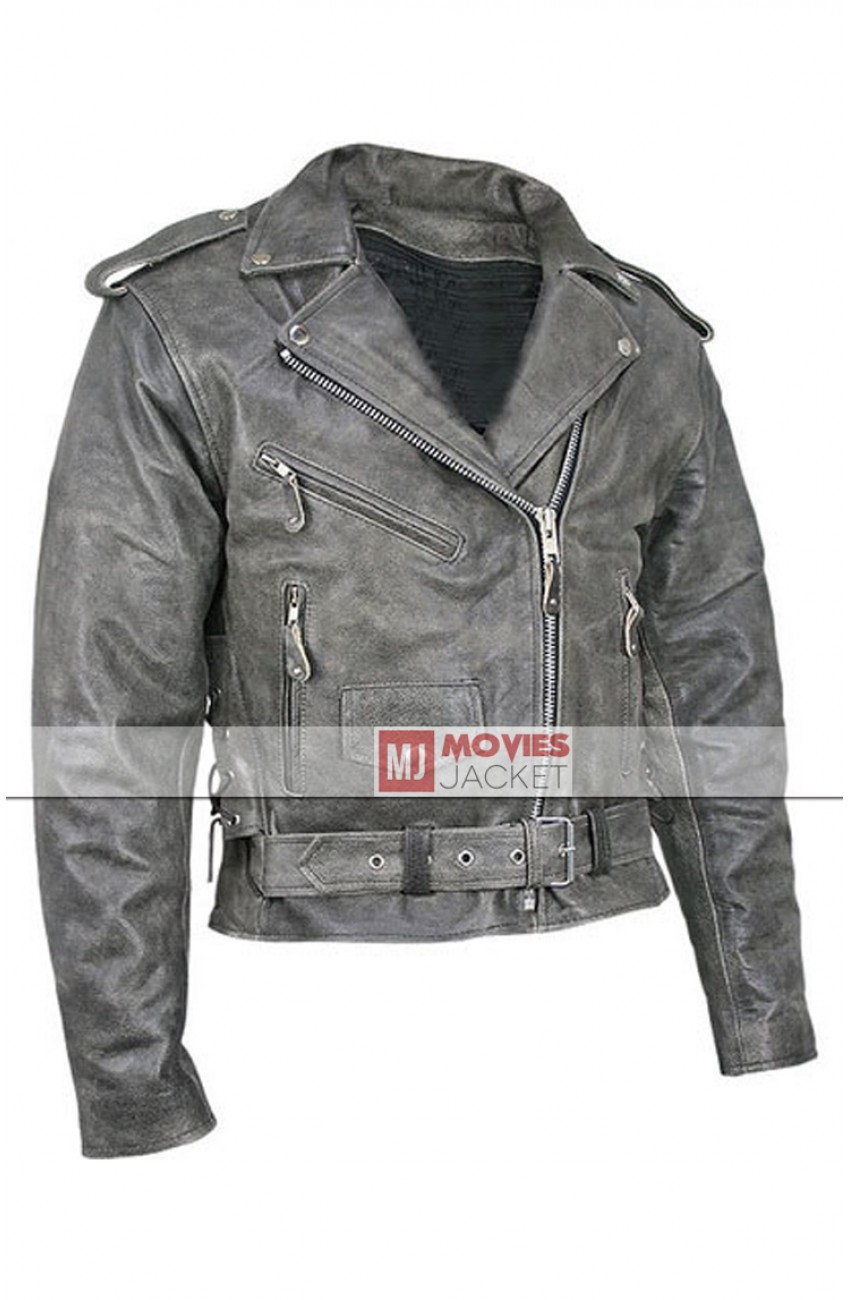 54c2b3855ebc Vulcan Distressed Leather Jacket - Men's Vintage Grey Motorcycle Jacket -  Movies Jacket