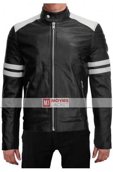 Brad Pitt Fight Club White Stripe Black Leather Jacket