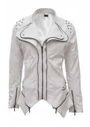White Studded Womens Leather Jacket