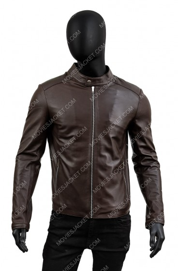 Men's Stand Collar Slim Fit Dark Brown Leather Jacket