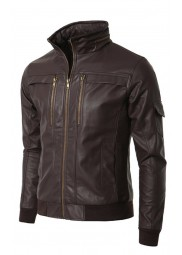 Men's Slim Fit Wired Collar Brown Leather Jacket