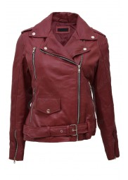Womens Maroon Moto Leather Jacket