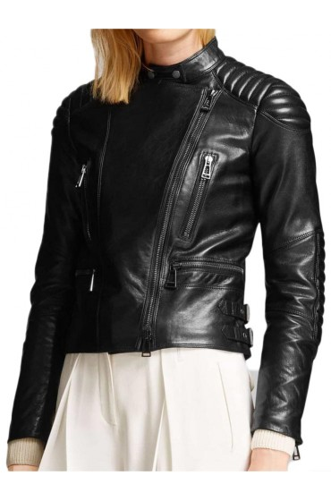 Women's Moto Asymmetrical Zipper Black Leather Jacket