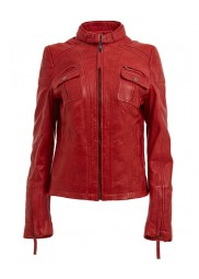 Women's Belted Collar Red Leather Jacket