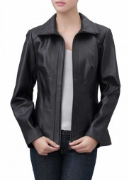 Womens Black Leather Scuba Jacket