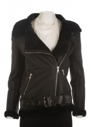 Black Shearling Womens Sheepskin Jacket