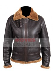 Womens Bomber Sheepskin Leather Flying Jacket with Hooded