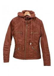 Brown Faux Leather Hooded Women Jacket