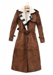 Brown Suede Double Breasted Womens Coat