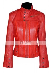 Women's Designer Casual Wear Red Leather Jacket