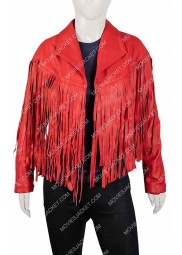 Women's Red Leather Fringe Jacket