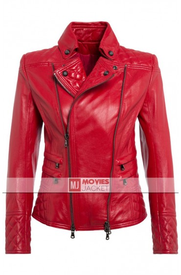 Pierre Women's Red Leather Biker Jacket