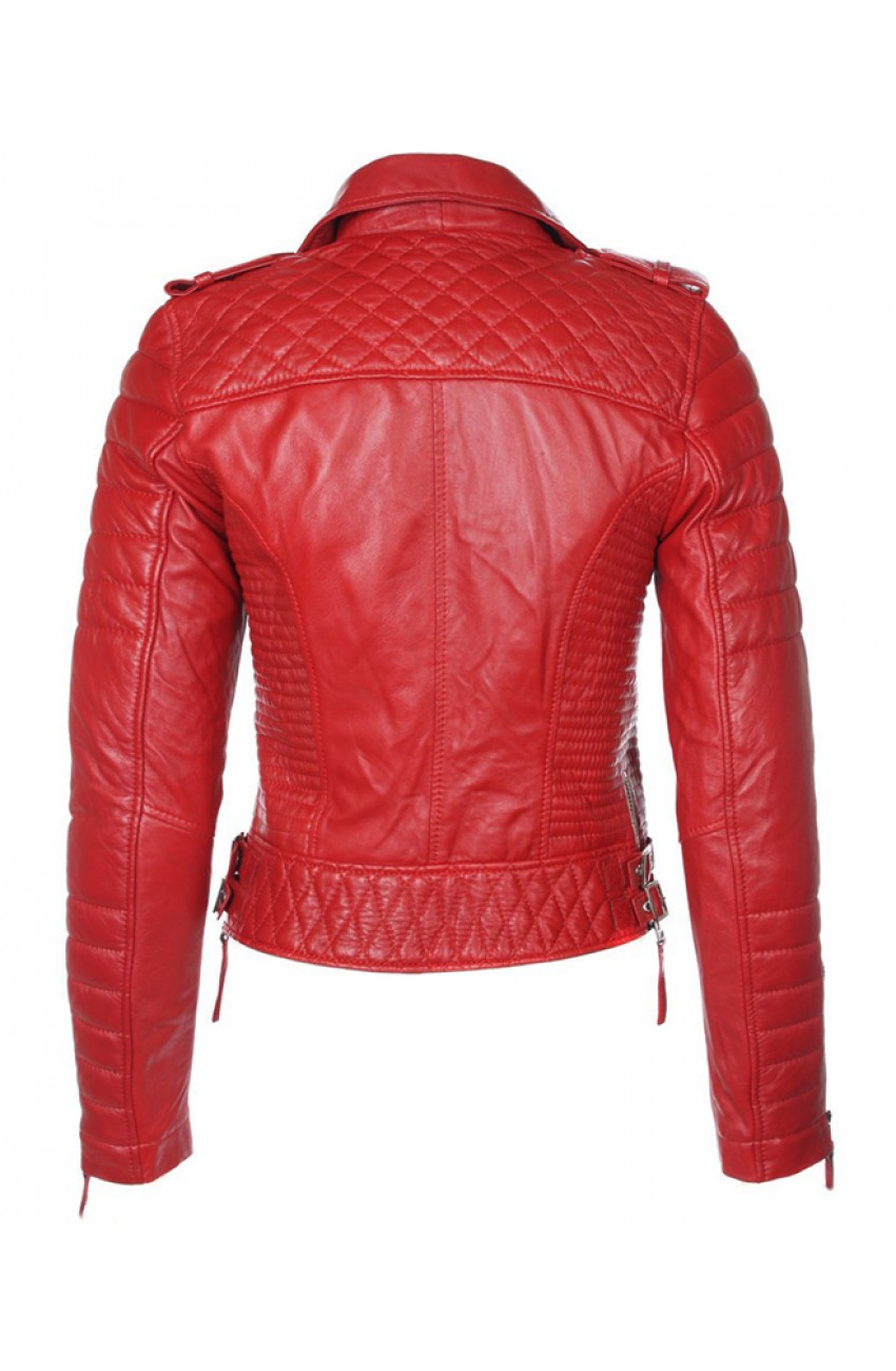 Red Leather Quilted Biker Jacket : leather quilted biker jacket - Adamdwight.com