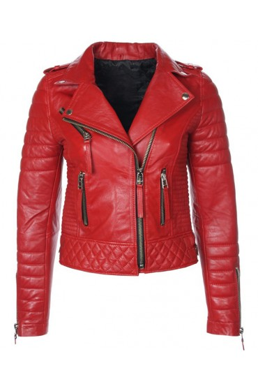 Women's Red Leather Quilted Biker Jacket