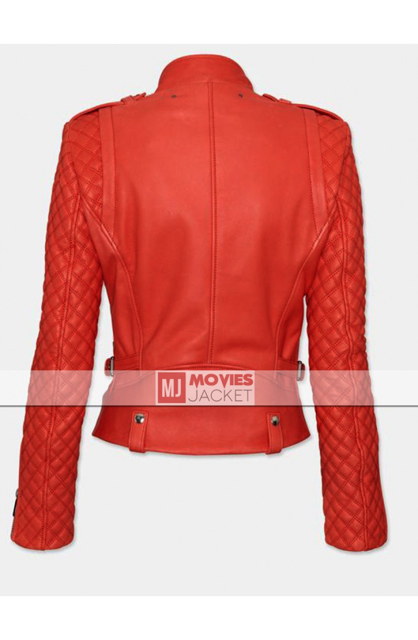 Womens red quilted jacket