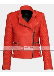 Womens' Red Leather Motorcycle Quilted Jacket