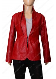 Women's Stand Up Collar Designer Red Leather Jacket