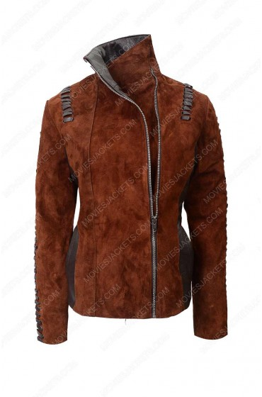 Womens Western Suede Leather Biker Jacket