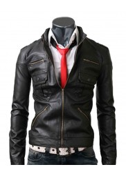 Zip Pocket Black Leather Jacket