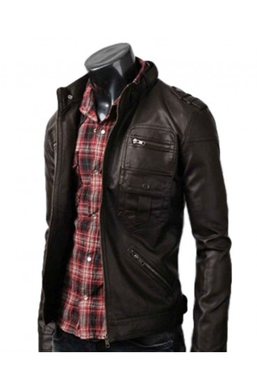 Zip Pocket Dark Brown Leather Jacket