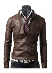 Zip Pocket Slim Fit Light Brown Leather Jacket