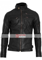 Men's Zipper Pocket Style Slim Fit Black Leather Jacket